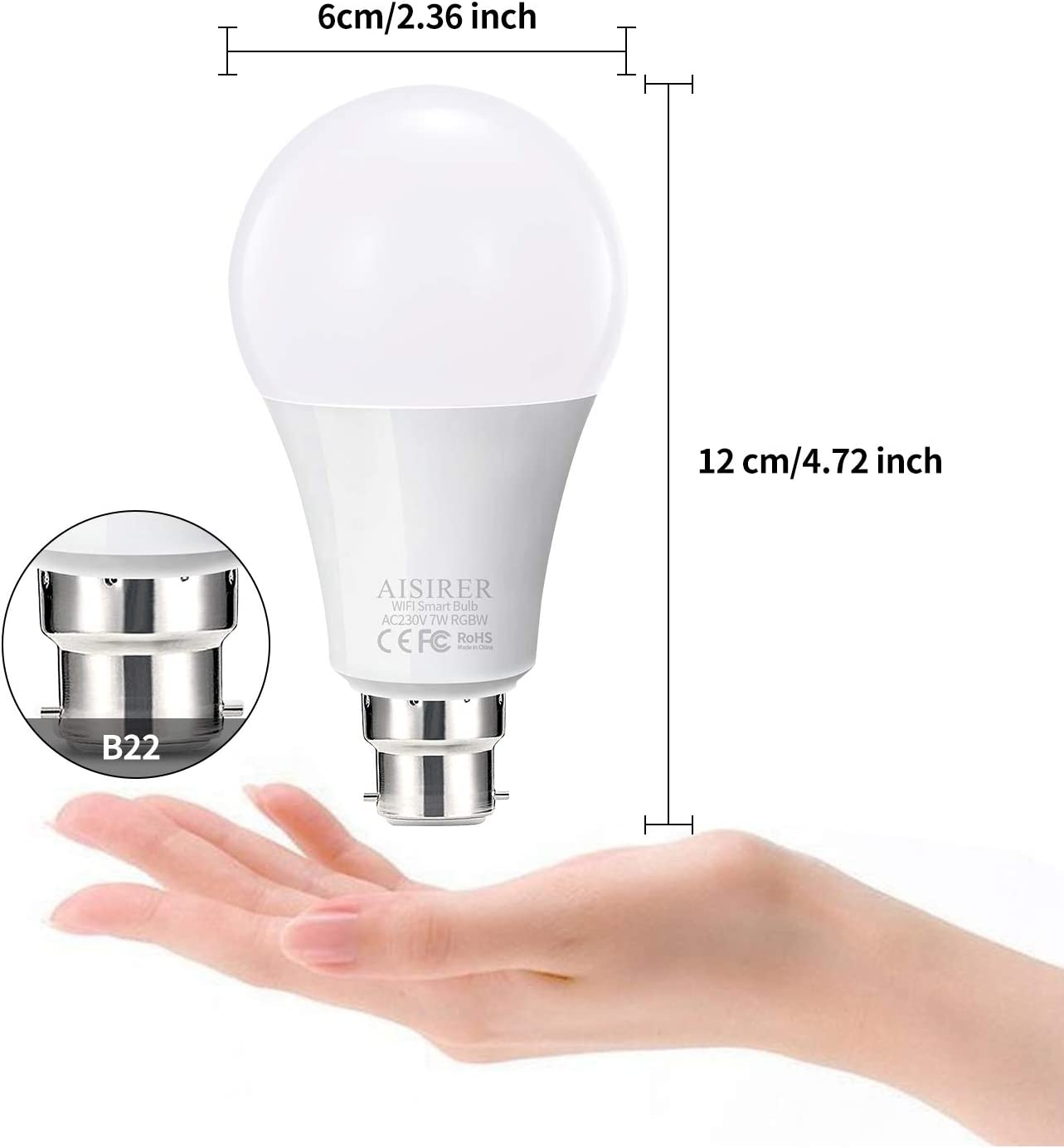 AISIRER Smart Light Bulb 1 Pack No Hub Required 7W Equivalent 60W Works with Alexa Google Home and IFTTT WiFi Smart Bulb Alexa Light Bulbs B22 Bayonet Colour Dimmable 2700K