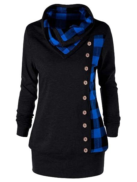 YTJH Rosegal Women's Plus Size Cowl Neck Single Breasted Long Sleeves Plaid Sweatshirt (Red + Black)