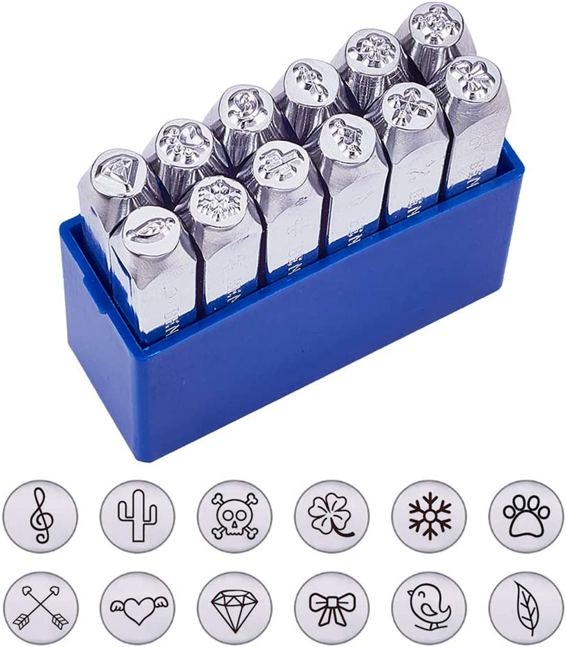 """BENECREAT 12 Pack (6mm 1/4"""") Design Stamps, Metal Punch Stamp (Nature Theme) Stamping Tool Case - Electroplated Hard Carbon Steel Tools to Stamp/Punch Metal Jewelry Leather Wood"""