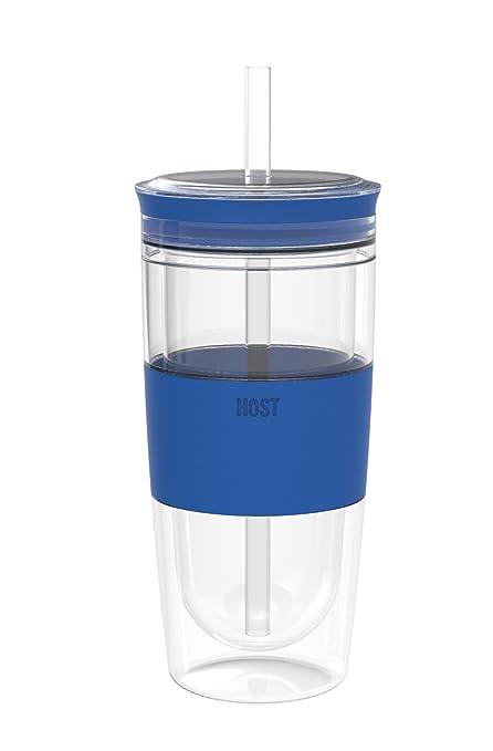 Taza de frío, silicona aislada, vaso de hielo, color azul frío ...