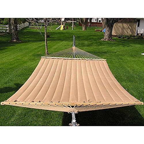 (Grand Super Beautiful Brown Quilted Softly Padded Hammock, Pinstripe Bed, For 2-Person, Stand NOT included.)