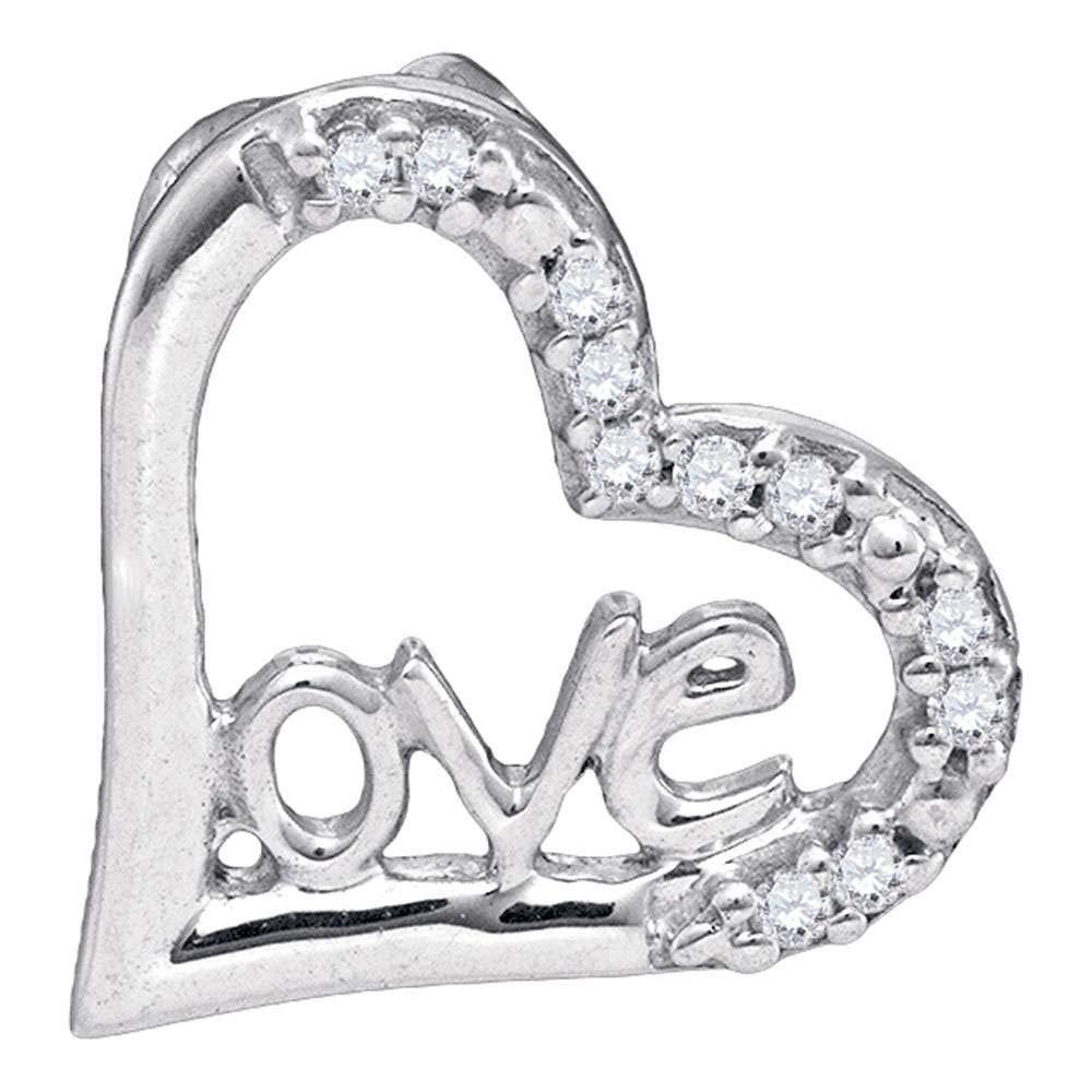 10kt White Gold Womens Round Diamond Heart Pendant 1//20 Cttw