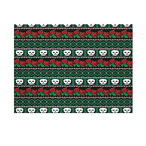 - Skulls Decorations Photography Background,Mexican Folk Art Skulls and Roses Knitted Pattern Backdrop for Studio,10x6ft