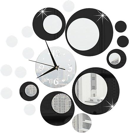 Kayi Horloge Cercle 3d Miroir Wall Sticker Decoratif Nouveaute Design Moderne Pour Salon Cafe
