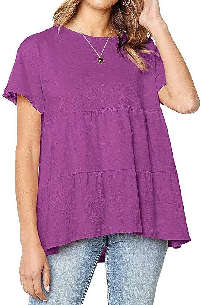 Hokoaidel Camisetas para Mujer, Camisetas de Mujer Verano Casual Cuello Redondo Camisas Ruffle Blusas Solid Mujer Camisetas Mujeres Sueltas Tops: Amazon.es: Ropa y accesorios
