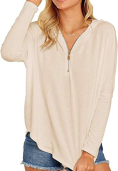 Winwintom Mujer Gran tamaño Camisas Otoño e Invierno Color sólido Zipper Camisas Tapas Casual Flojo Manga Larga Sudadera Tops: Amazon.es: Ropa y accesorios