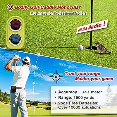 Bozily Golf Rangefinder, 6X Laser Range Finder 1200Yards, Flag-Lock, Slope ON/Off, 4 Scan Mode, Linear & Vertical Distance, Angle & Speed Measurement,Fog Resistant- Tournament Legal Golf Rangefinder by Bozily