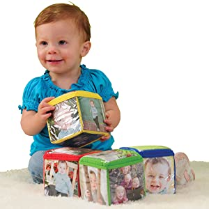 Constructive Playthings Toys Foam Stacking Blocks with Photo Pockets, 4 Piece Set Holds 24 Photos, Ages 12 Months and Up