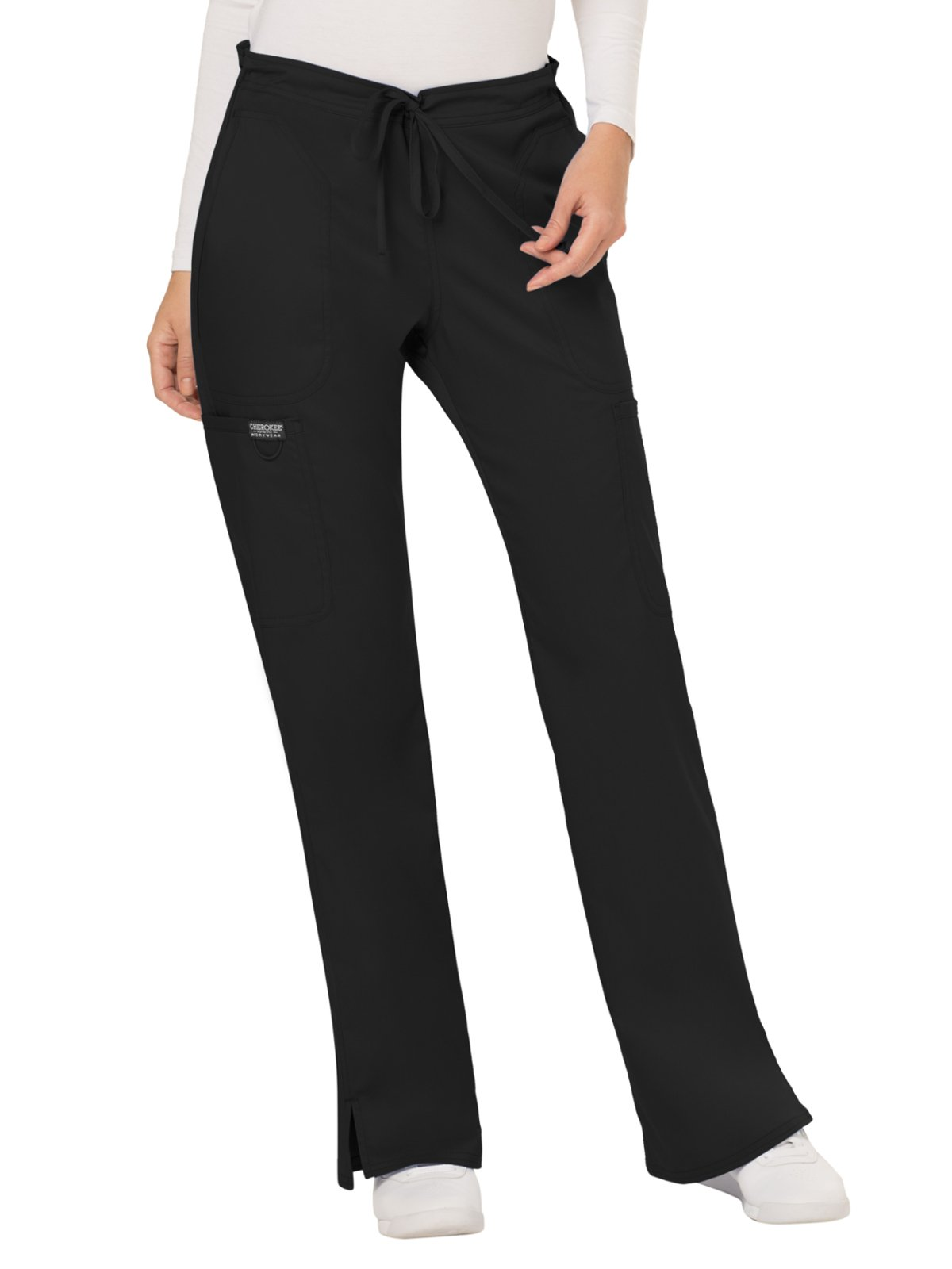 WW Revolution by Cherokee Women's Mid Rise Moderate Flare Drawstring Pant, Black, M