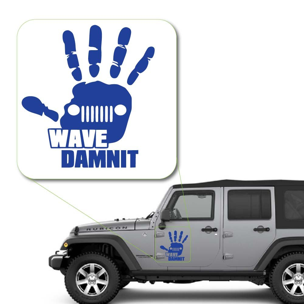 Jeep Wave Dammit Decal StickerJeep Hand Wave American Flag Vinyl Decal