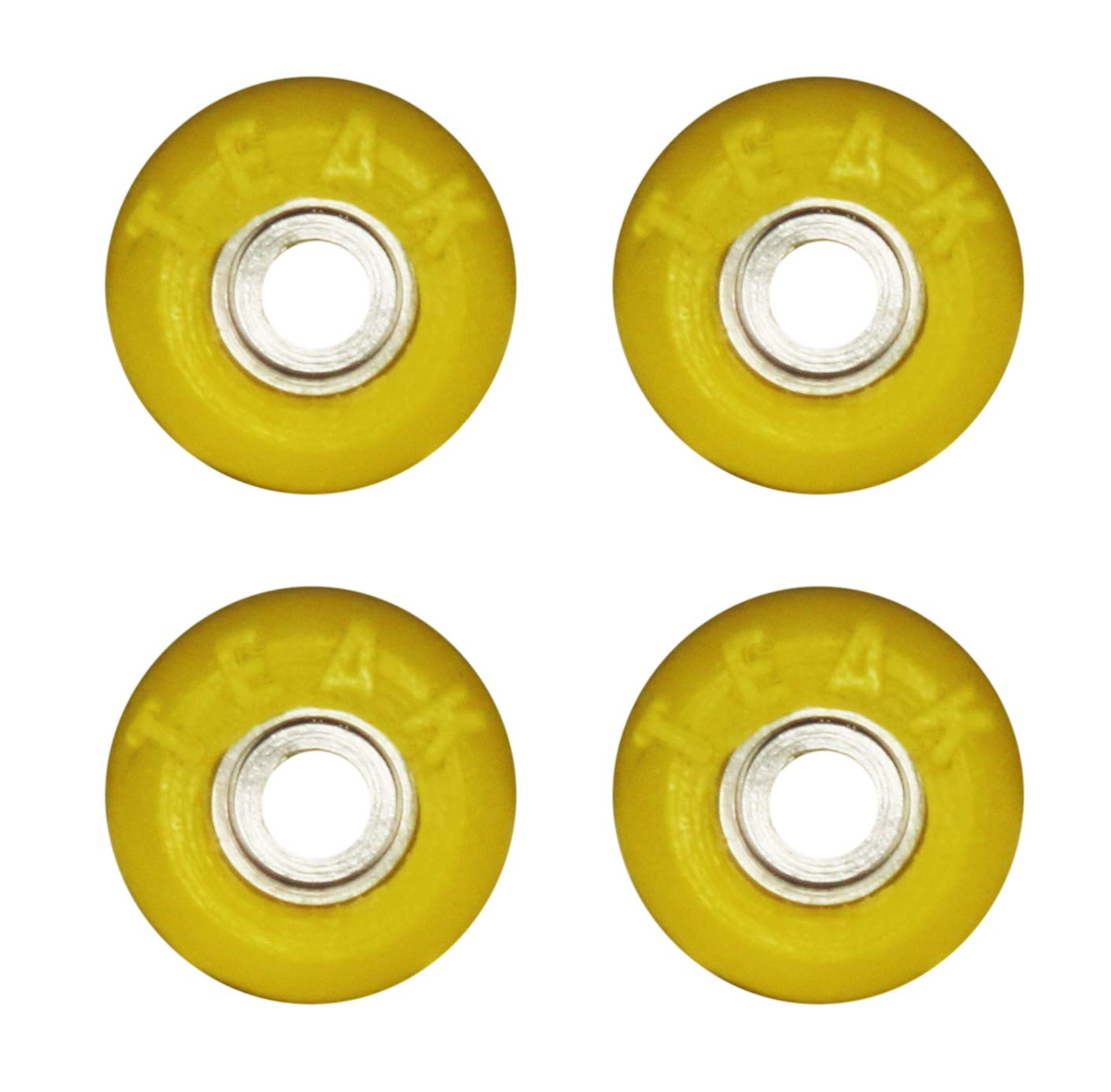 Teak Tuning 70D Urethane Fingerboard Wheels - Lock Nuts/Washers Included - Citrus Yellow Colorway