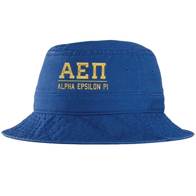 7b6d79b90ef Express Design Group Alpha Epsilon PI Greek Letter Bucket Hat Royal Blue