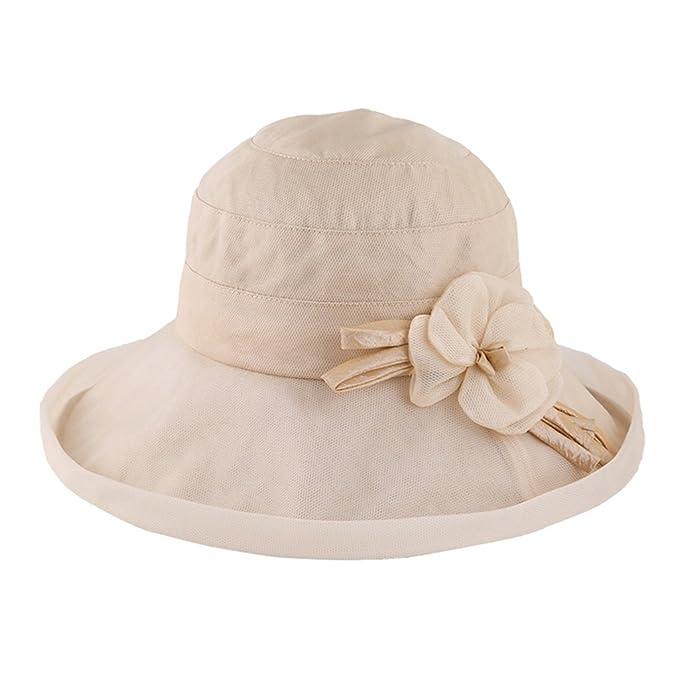 Visiera Donna Estate Cappello Protezione Solare Cappello Pieghevole Estivo  Cappello Estivo da Spiaggia (Colore   Beige)  Amazon.it  Abbigliamento 13099138e57b