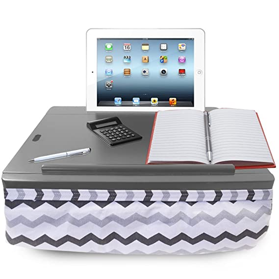 Delightful ICozy Portable Cushion Lap Desk With Storage   Grey Chevron Nice Design