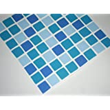 OCEAN BLUE AQUA Mosaic tile transfers stickers . quickly transform your bathroom or kitchen wall tiles, self adhesive, quick and mess free by paper theme