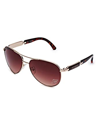 2ec796d05b40 GUESS Factory Women s Mirrored Tinted Aviator Sunglasses at Amazon Women s  Clothing store