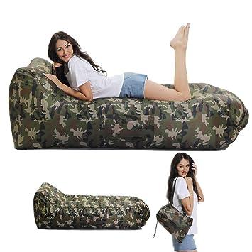 Lazy Wind Saco de Dormir Hinchable reclinable al Aire Libre, Excursión, Portátil, Inflable