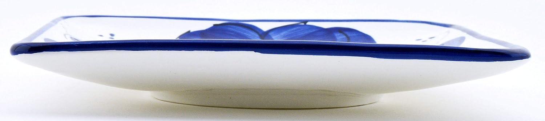 24 cm x 15,5 cm x 4,5 cm ART ESCUDELLERS Bandeja en Ceramica Hecha y Pintada a Mano con decoraci/ón Azul Clasico