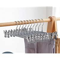 Metal Skirt Hangers Heavy Duty Pants Hangers,Pants Clip Hangers with Non-Slip Adjustable Clips Trouser Clip Hangers(10…