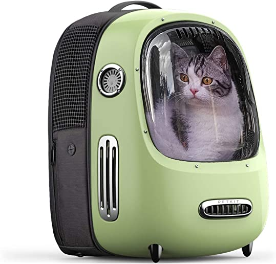 PETKIT Cat Backpack Carrier, Portable Travel Space Capsule for Cats and Small Dogs, Ventilated Pet Backpack with Inbuilt Fan Light, Comfort Pet Backpack with Padded Strap, Lightweight