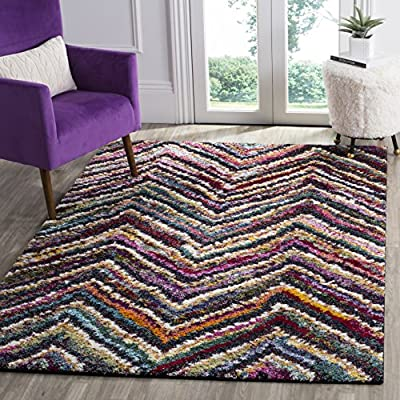 Safavieh Fiesta Shag Collection FSG363M Abstract Chevron Multicolored Area Rug (4' x 6') - Abstract design adds an eclectic and artistic flair Power-loomed construction ensures a virtually non-shedding rug Various intertwined colors allow for seamless integration into existing decor - runner-rugs, entryway-furniture-decor, entryway-laundry-room - 61Mw%2B3NdUjL. SS400  -