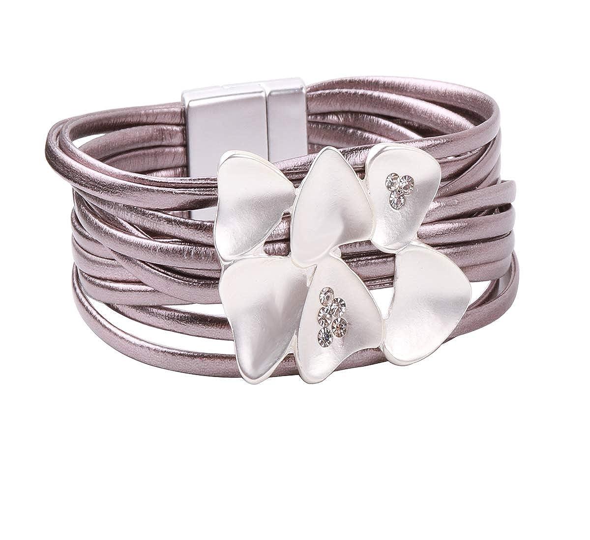 REEBOOOR Boho Leather Bracelet Leather Wrap Bracelet Handmade Woven Jewelry for Girls,Teens, Mother, Birthday Gift Birthday Gift (Grey) RE-BR18070403
