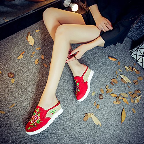 On Embroidered Loafers Chinese Wedge Style CHICKLE Womens Slip Shoes Peony Red 1x0AaBIq