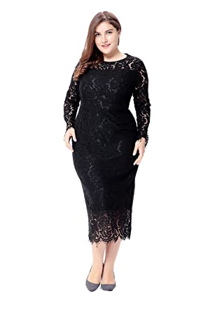 Paronlinka Womens Long Sleeve Plus Size O Neck Prom Lace Dress At