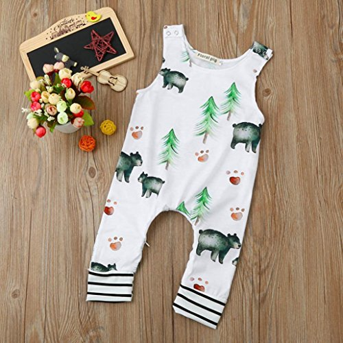 Lingery Toddler Newborn Baby Boy Girl Bear Trees Romper Jumpsuit Outfits Clothes
