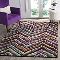 Safavieh Fiesta Shag Collection FSG363M Abstract Chevron Multicolored Area Rug (3 x 5)