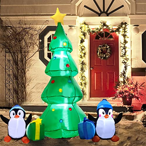 7FT Christmas Inflatables, Christmas Tree Inflatable Outdoor Decorations with Penguins and Gift Boxes, Blow Up Xmas Decoration with Build-in LED Lights for Yard Garden Lawn Decor