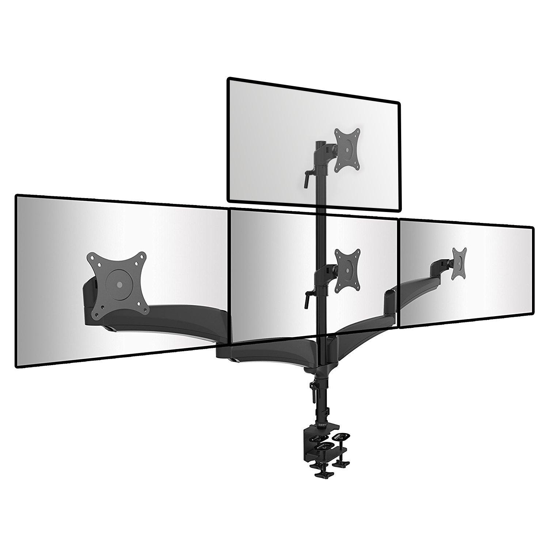 Duronic DM453VX1 Support de bureau pour quatre écrans d'ordinateur LCD - LED - Gamme Solid