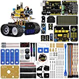 KEYESTUDIO Mini Tank Robot V2.0, Light & Ultrasonic Follow, Ultrasonic Avoiding, Infrared & Bluetooth Remote Control, Support iOS and Android, Electronic DIY Robotics Kit for Kids and Teens