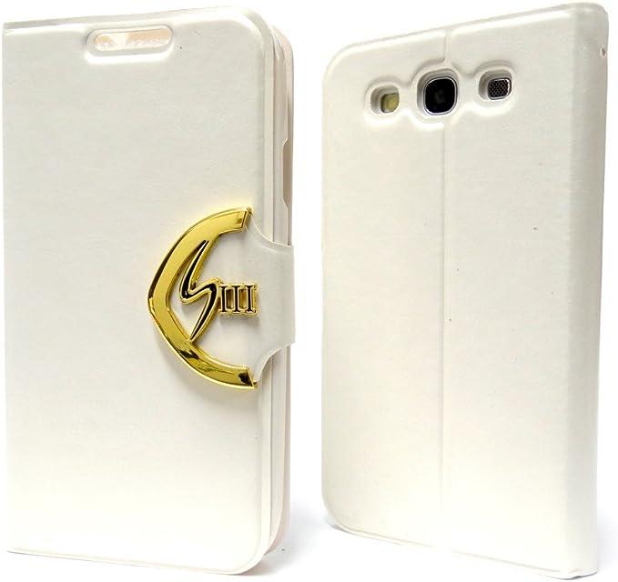 Funda-Samsung Galaxy S3 VIP de piel con tapa para emblema dorado W con carcasa trasera: Amazon.es: Electrónica