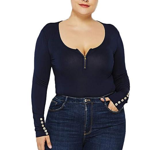 e45cf50e97 Image Unavailable. Image not available for. Color  Womens Plus Size Long  Sleeve Jumpsuit Stretch Bodysuit Leotard Body Top Tshirt