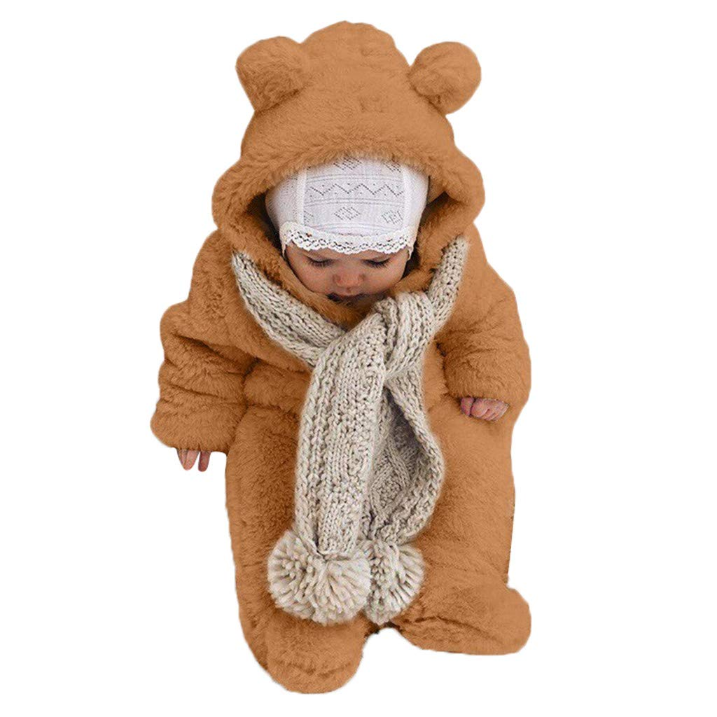 Sayla Babykleidung Winter Outfit Neugeborene M/ädchen Jungen Overall Mit Kapuze Footies Strampler Winter Schneeanz/üge Karikatur Jumpsuit Onesies