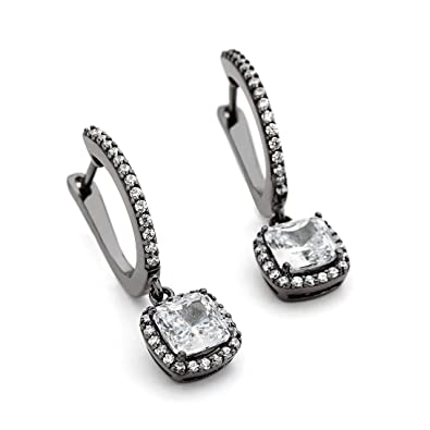 a0573da67 OneByOne Square CZ Crystals Halo Drop - Black Rhodium Plated Sterling  Silver Earrings for Women: Amazon.co.uk: Jewellery