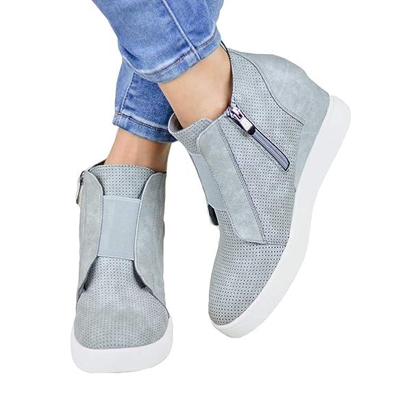 Botines Mujer Cuña Planos Invierno Planas Botas Tacon Casual Zapatos para  Dama Plataforma 5cm Elegante Zapatillas Calzado Moda Negro Rosa Marrone  Grigio 34- ... 87fd1624b3dc