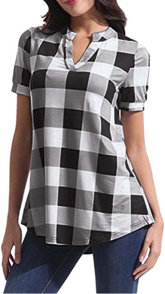 Camisas A Cuadros Retro Mujer Camisa para Ropa Festiva De Vestir Tops De Manga Corta Vintage