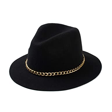 e43a4e255be53 Eric Carl 2019 New Fashionable Women 100% Wool Black Burgundy Red Fedora Hat  with Gold