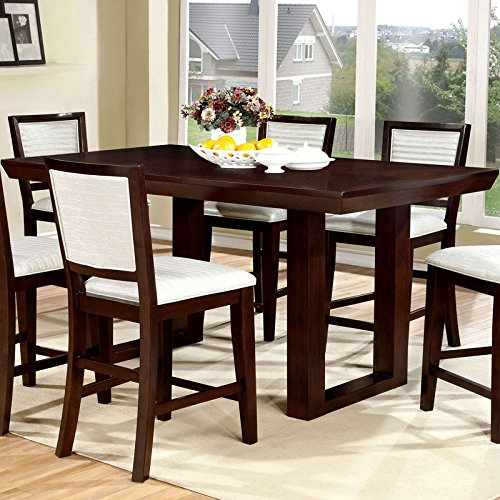 Garrison Transitional Style Espresso Finish 9-Piece Counter Height Table Set