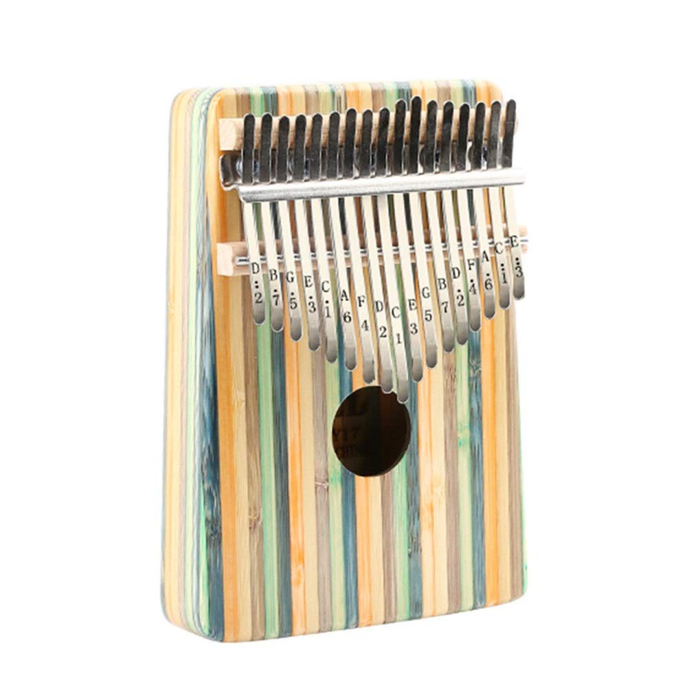 Color Strips Bamboo Wooden Thumb Piano 17 Keys Kalimba Standard C Tune Finger Piano Metal Engraved Notation Tines With Tuning Hammer Pickup Carry Bag Kids Musical Instrument Gifts for Music Lover Begi