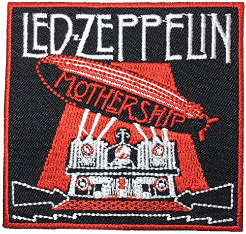 [Led-Zeppelin MOTHERSHIP 7.5 x 7.5 cm. Music Band Logo Jacket Vest shirt hat blanket backpack T shirt Patches Embroidered Appliques Symbol Badge Cloth Sign Costume] (80s Singers Costumes)