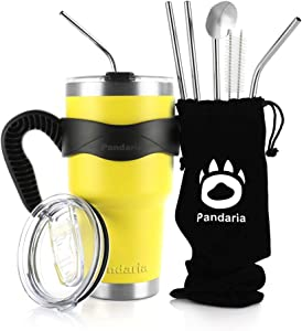 Pandaria 30oz Stainless Steel Vacuum Insulated Tumbler Set Double Wall Travel Mug Coffee Cup with Metal Straws, Splash-Proof Lids & Easy-Grip Handle for Ice Drink & Hot Beverages, Yellow