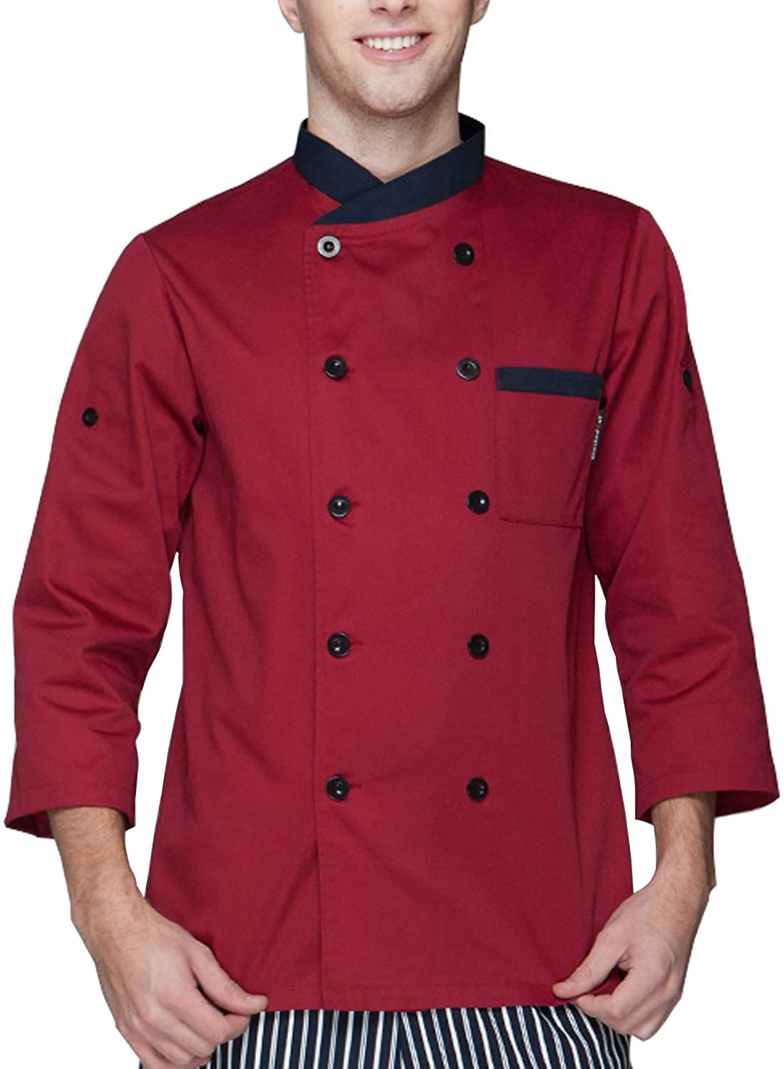 BOUPIUN Chef Coat Sleeve Adjustable Uniform Unisex Chef Jackets