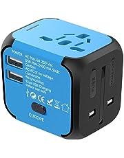 YOMYM Adaptador universal de viaje, Cargador International de viaje, Adaptador de corriente con cargador USB dual, todo en uno, Cargador universal y adaptador de enchufe para el Reino Unido US AU Europa y Asia, Fusible de seguridad incorporado (Azul)