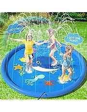 Peradix Waterspel sprinkler pad, zwembad fontein 170Cm splash pad sprinkler pad water play mat voor outdoor zwemmen kinderen en kids summer(niet-opblaasbaar)