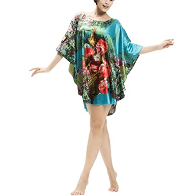 Aivtalk Frauen Imitation Silk Flügel-Hülsen-Pullover Nachthemd Kleid  (7050-1)
