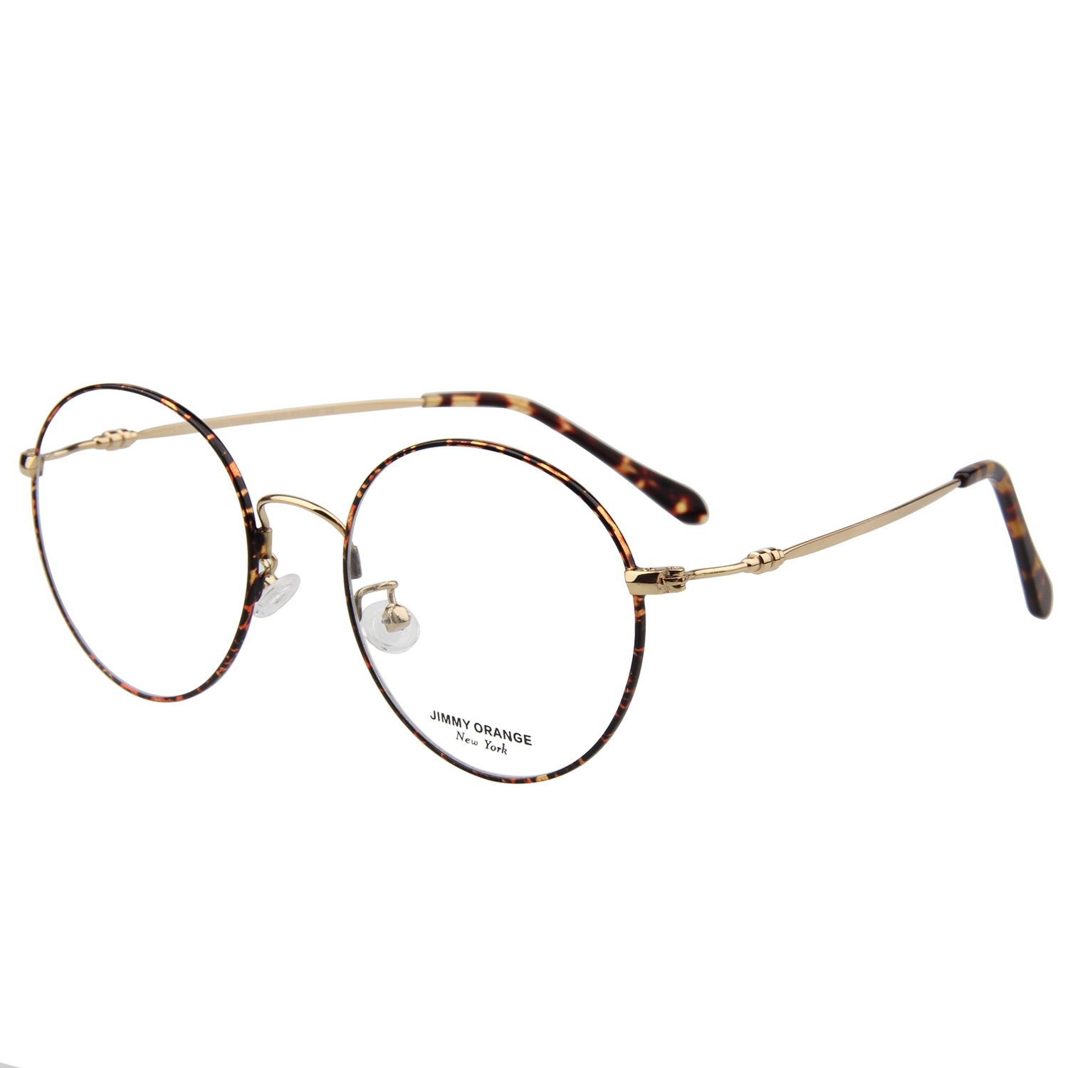 cb485b2d5807 Amazon.com  JO Designer Oversized Women s Round Glasses Mens Metal Optical  Frame JO5214 Leopard  Health   Personal Care