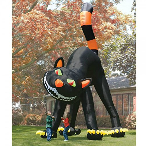 Halloween Inflatable Black Cat 20 Ft Tall Airblown Animated Outdoor Yard Decor with Air Pump (Halloween Cat Decorations)